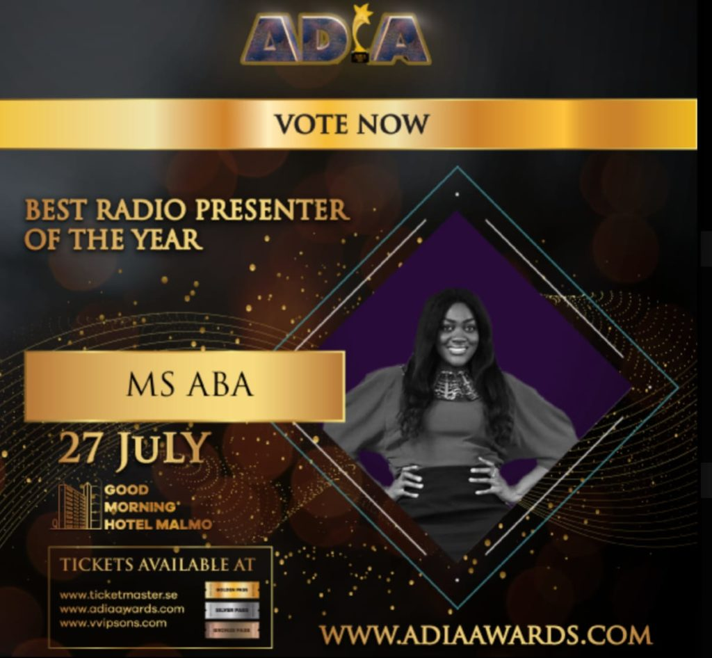 MS.ABA wins Best Radio Presenter of the year by the African Diaspora